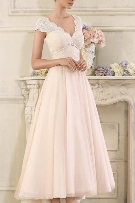 Tea Length Wedding Dress v-neck party dress