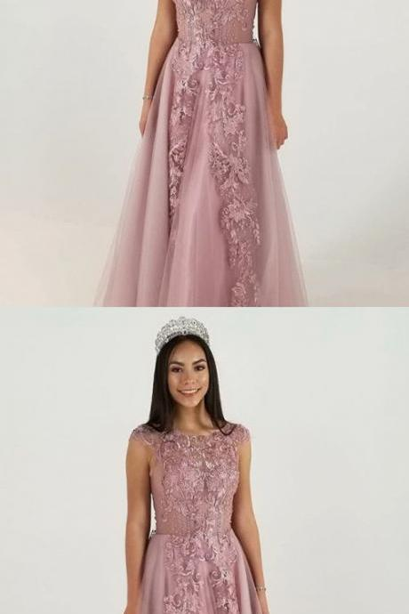 A-Line Jewel Cap Sleeves Blush Tulle Prom Dress with Appliques