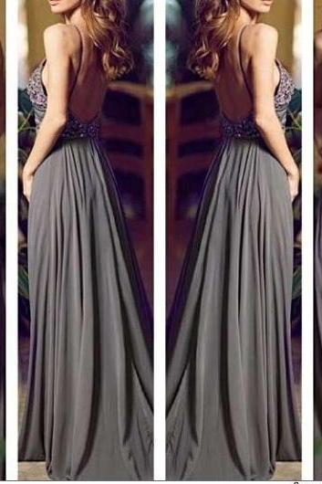 ec9d54fe4b Open Back Long Chiffon Prom Dresses with Crystals Floor Length Party Dresses  Custom Made Women Dresses