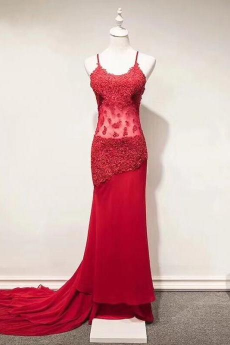 Custom Made Red Lace Applique Sheer Floor Length Prom Dress with Train