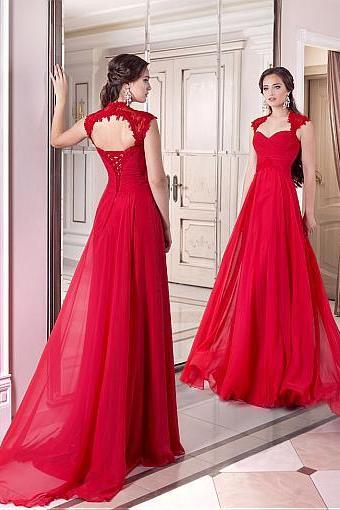 Elegant Chiffon Queen Anne Neckline Full-length A-line Evening Dresses