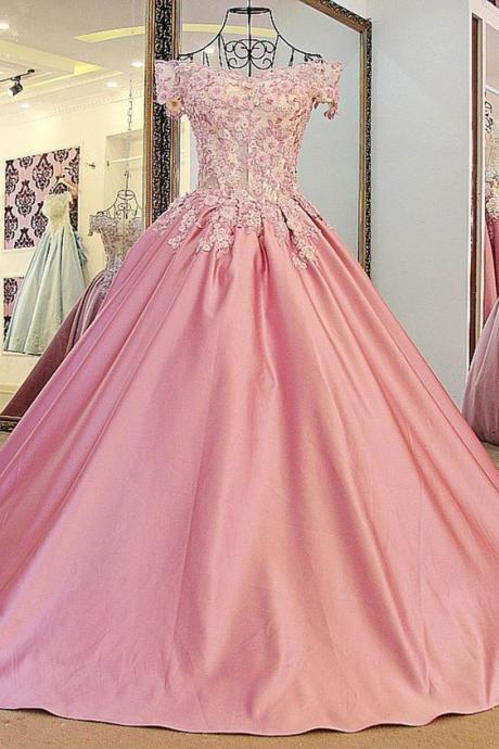 Pink Lace Quinceanera Dresses, New Ball Gown Prom Dress, Formal Party Gowns, Sexy Quinceanera Dresses