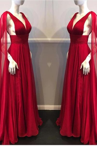 Red Prom Dresses A-line Sweep/Brush Train V-neck Beautiful Prom Dress Long Evening Dress