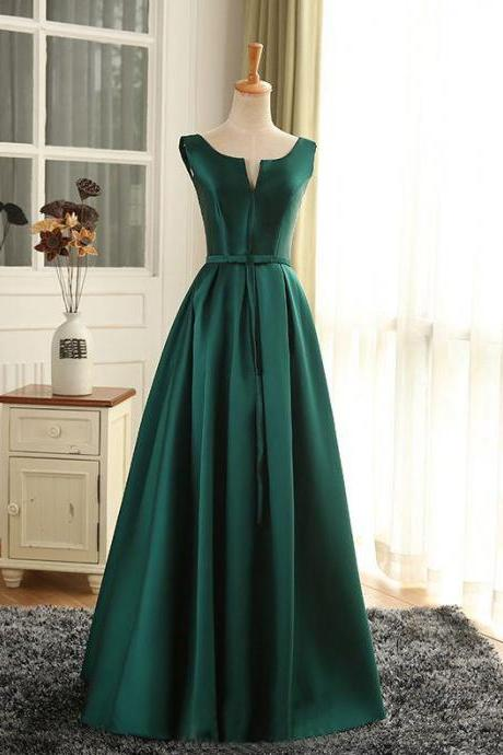 Cheap Prom Dresses Sexy Scoop Dark Green Satin Long Prom Dress/Evening Dress