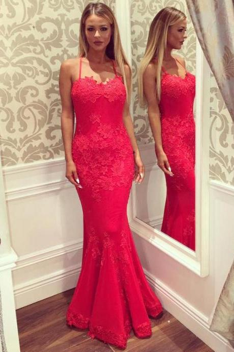 Sexy Red Prom Dresses Criss-cross Straps Trumpet/Mermaid Long Prom Dress/Evening Dress
