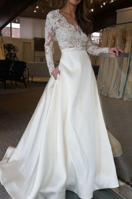 Long Wedding Dress, Lace Wedding Dress, Satin Wedding Dress, Elegant Bridal Dress, Long Sleeve Wedding Dress,V-Neck Wedding Dress
