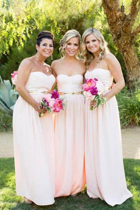Long Bridesmaid Dress, Chiffon Bridesmaid Dress, Sweet Heart Bridesmaid Dress, Dress for Wedding, Simple Bridesmaid Dress, Floor-Length Bridesmaid Dress,