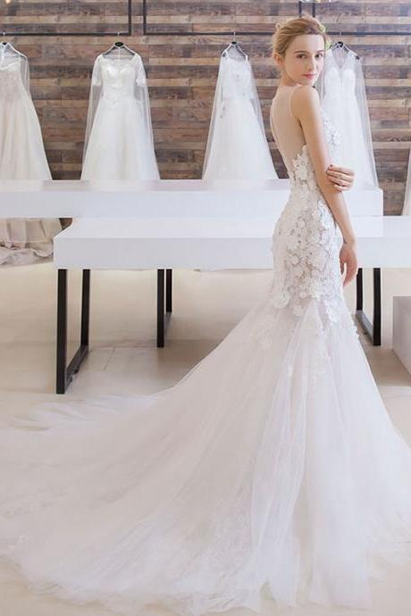Long Wedding Dress, Sleeveless Wedding Dress, Tulle Wedding Dress, Mermaid Bridal Dress, Gorgeous Wedding Dress, Lace Bridal Dress, Open-Back Wedding Dress