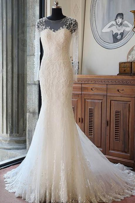Appliques Sweetheart Illusion Long Mesh Sleeves Floor Length Tulle Mermaid Wedding Dress Featuring Train