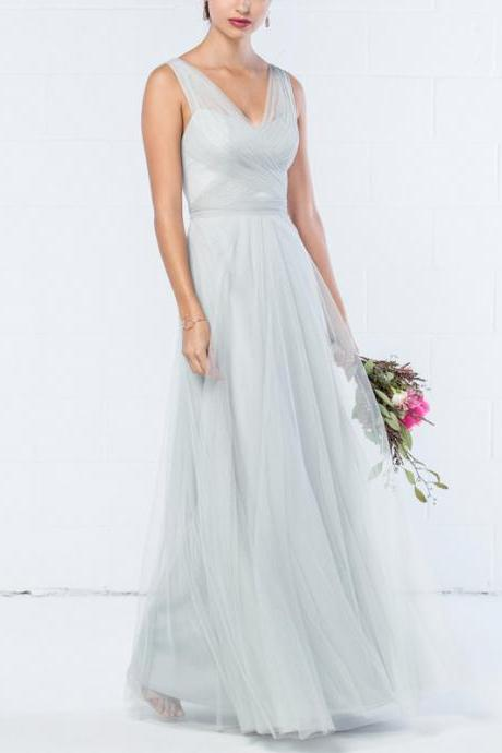 Long Bridesmaid Dress, Sleeveless Bridesmaid Dress, Tulle Bridesmaid Dress, Dress for Wedding, A-Line Bridesmaid Dress, V-Back Bridesmaid Dress, Floor-Length Bridesmaid Dress