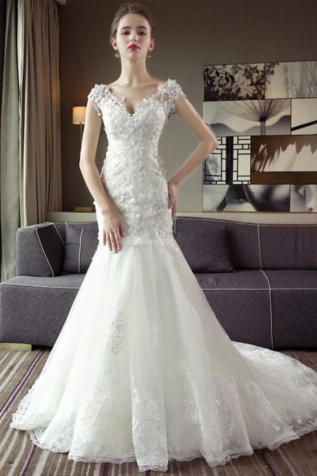 Lace Appliques Plunge V Cap Sleeves Floor Length Tulle Mermaid Wedding Dress Featuring Train