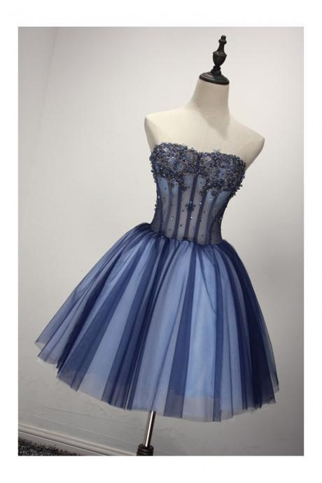 Short Sparkly Blue Formal Dress For 8th Grade Girls