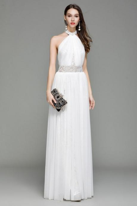 White Lace party dress Long Halter prom dress Backless Evening Dress