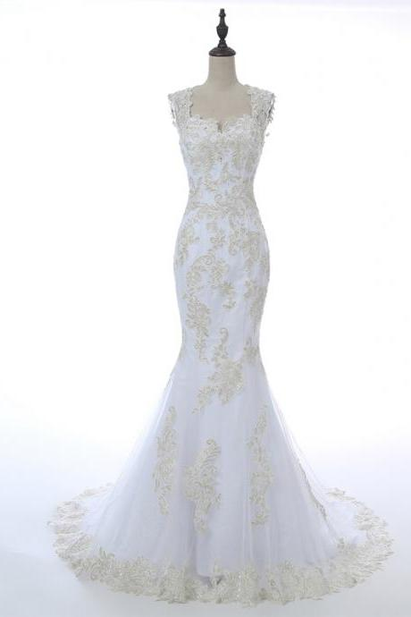 Sleeveless Lace Appliques Mermaid Wedding Dress Featuring Open Back and Train