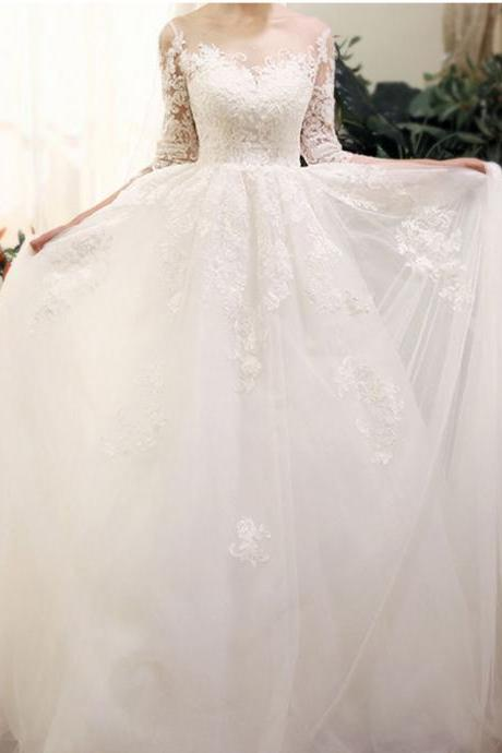 Long Wedding Dress, A-Line Wedding Dress, Lace Wedding Dress, Applique Bridal Dress, Long Sleeve Wedding Dress