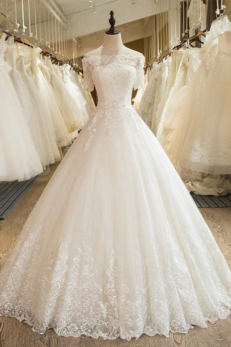 Long Wedding Dress, A-Line Lace Wedding Dress, Tulle Wedding Dress, Bridal Dress,Custom Made Wedding Dress