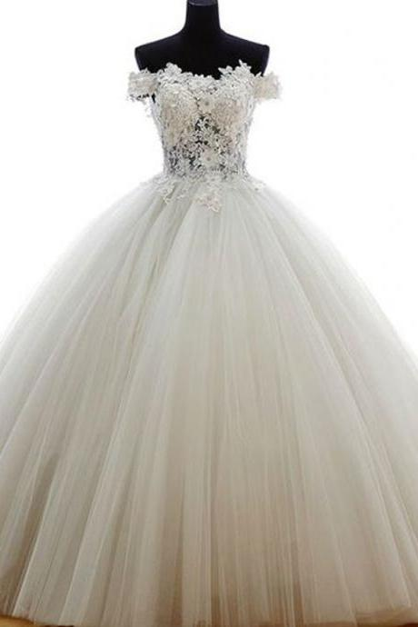 Long Wedding Dress, Tulle Wedding Dress, Lace Wedding Dress, Charming Bridal Dress with Train