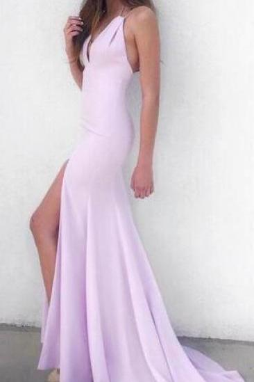 Pink Prom Dress, Long Prom Dress, Mermaid Prom Dress spaghetti straps party dress