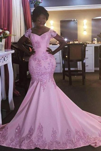 Pink wedding dress,mermaid prom dresses,pink prom gown,prom dresses short sleeves, evening gown pink