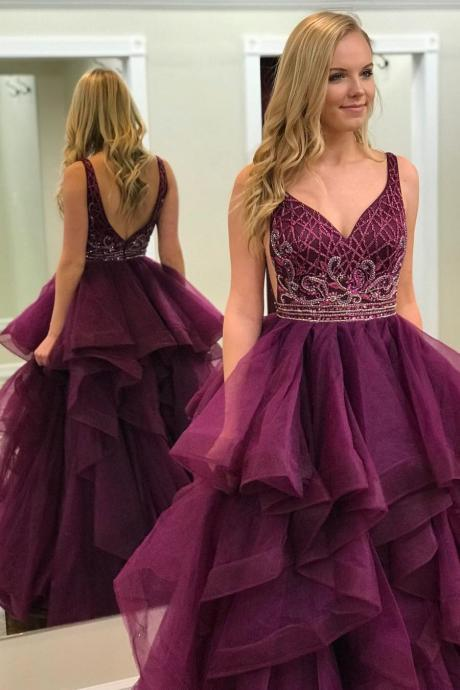 Elegant A-Line V-Neck Burgundy Tulle Long Prom/Evening Dress with Beading