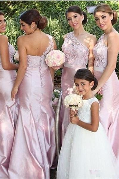 Elegant A-Line Mermaid One Shoulder Sleeveless Pink Satin Bridesmaid Dress with Appliques