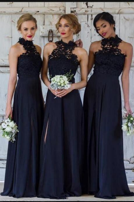 High quality A-Line Floor-Length Navy Blue Satin Bridesmaid Dress with Lace