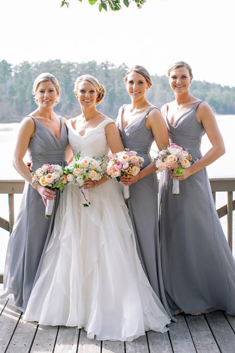 Simple A-Line Deep V-Neck Sleeveless Grey Chiffon Bridesmaid Dress