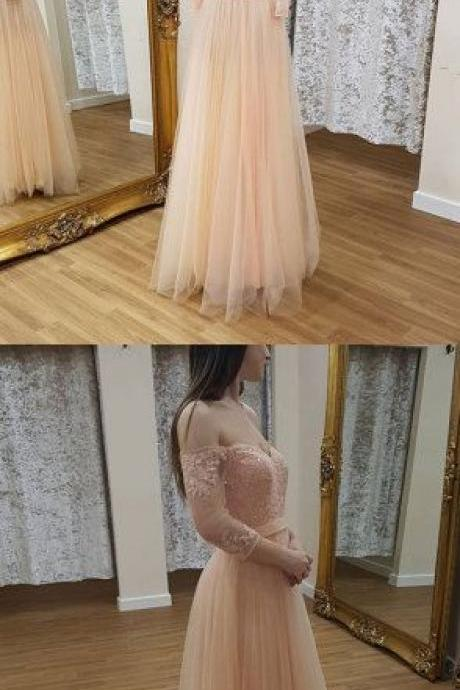 Light pink tulle lace long prom dress, long sleeve evening dress