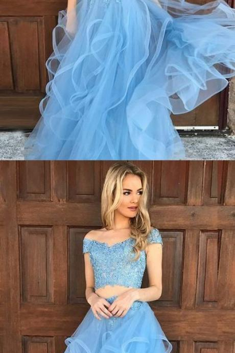 princess blue long prom dress, two piece prom dress, off the shoulder prom dress, party dress, dancing dress
