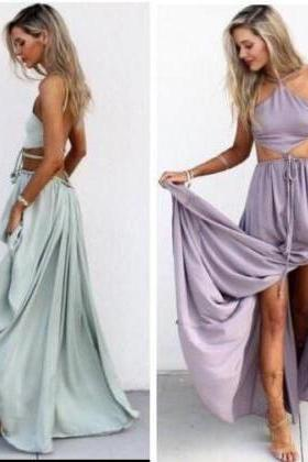 Two Piece Prom Gown,Two Piece Prom Dresses,Evening Gowns,2 Pieces Party Dresses,Chiffon Evening Gowns,Formal Dress