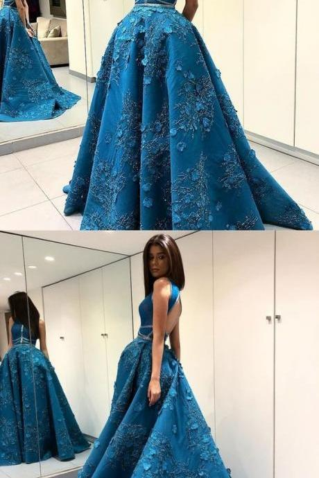 A-Line Round Neck Open Back Turquoise Satin Prom Dress with Beading Flowers