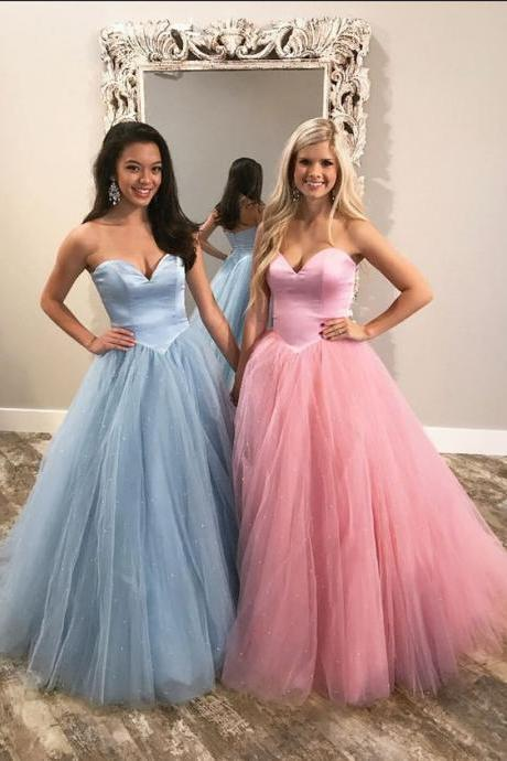 A-Line Sweetheart Floor-Length Light Blue Prom Dress with Beading