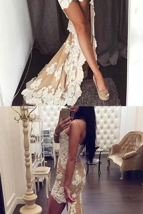 Sexy Sweetheart High Low Party Dress with White Lace,Champagne Strapless Mermaid Prom Dress