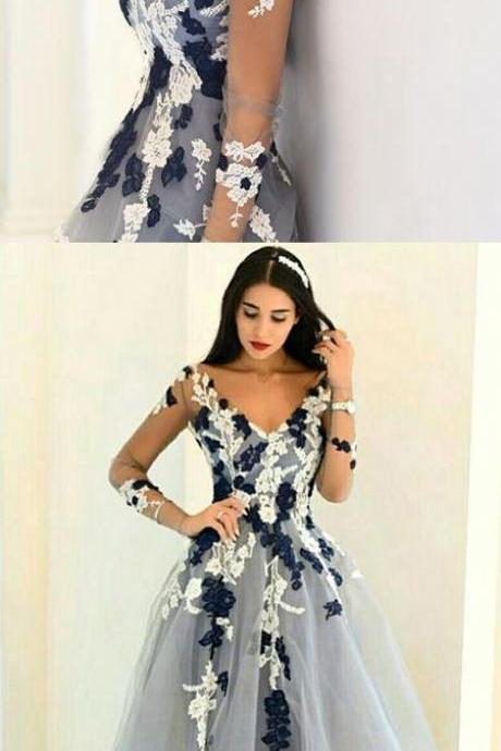 Charming A-Line V-Neck Long Sleeves Prom Dress with Appliques
