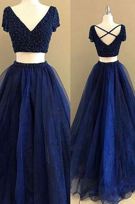 Unique A-Line Two-Piece Navy Blue Long Prom/Evening Dress with Beading