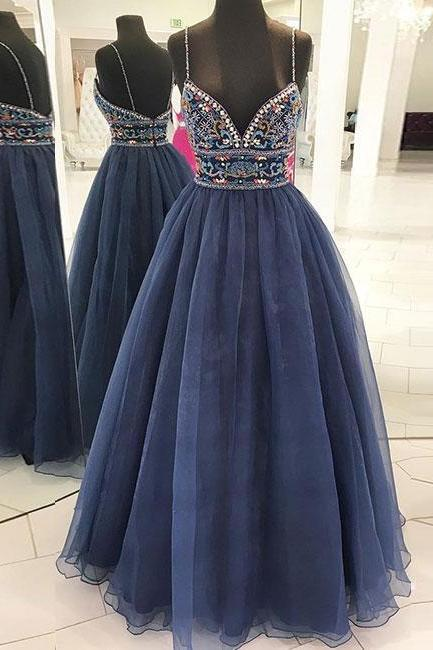 Stylish A-Line Spaghetti Straps Navy Blue Tulle Long Prom Dress with Beading