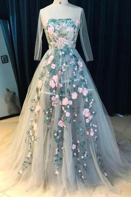 A-line Scoop-Neck Sweep Train Tulle Gray Long Sleeve Prom Dresses