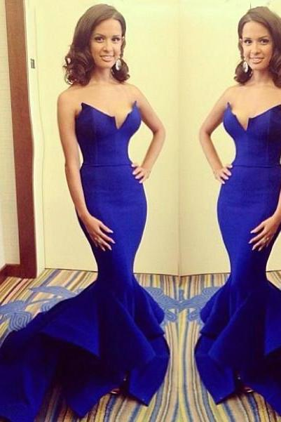 Strapless Mermaid Royal Blue Satin Prom Dresses/Evening Dresses/Formal Dresses
