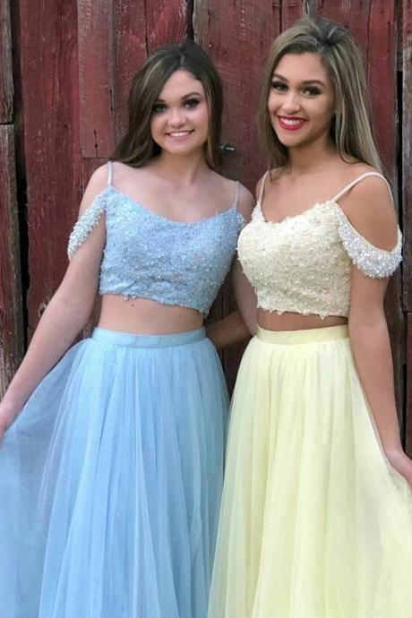 Two Piece Long Prom Dress, Sky Blue Long Prom Dress, Yellow Long Prom Dress