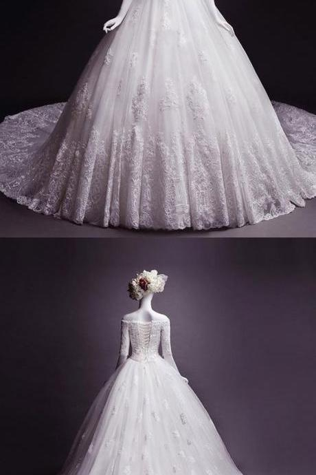 Fashion off-the-shoulder Appliques wedding dresses, classic Half Sleeves bride Dress