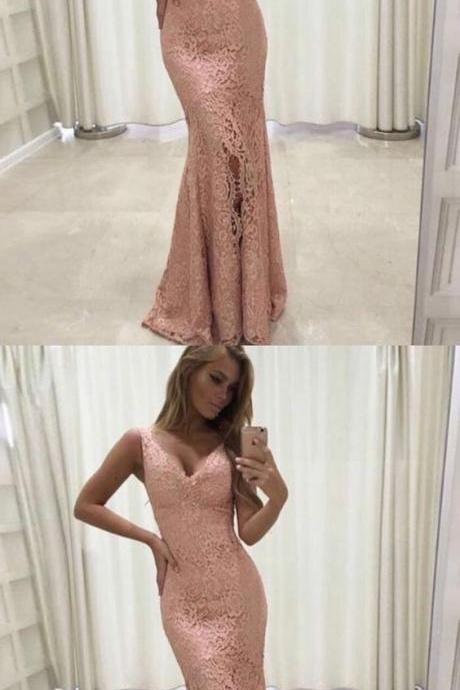 mermaid pink lace prom party dresses, elegant formal evening gowns, fashion dresses