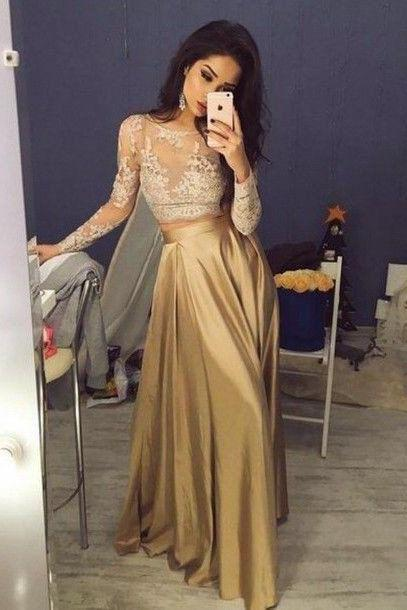 gold prom dress, long prom dress, lace sleeves evening gown, formal prom dress, two pieces evening dress