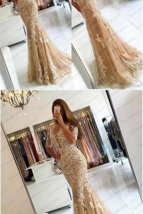 Charming Lace Yellow Mermaid Popular Prom Dress, Half Sleeves Prom Dresses, Evening Dress