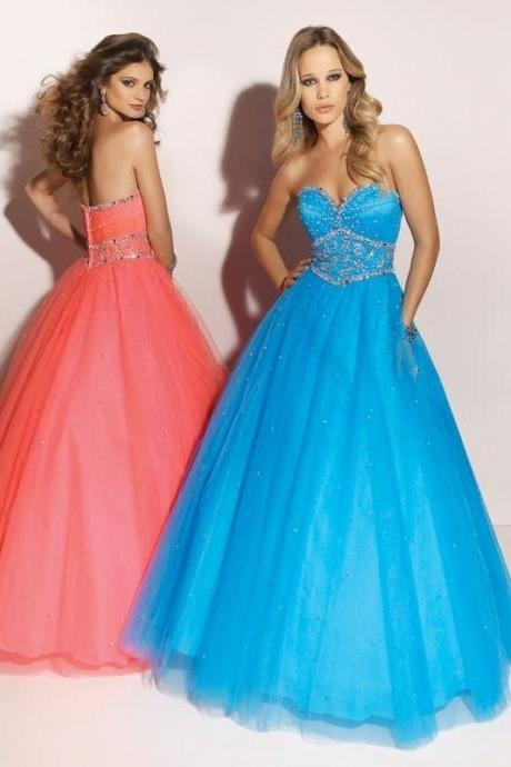 Prom dresses for teens long blue full a-line sweetheart floor-length tulle prom dress with beading
