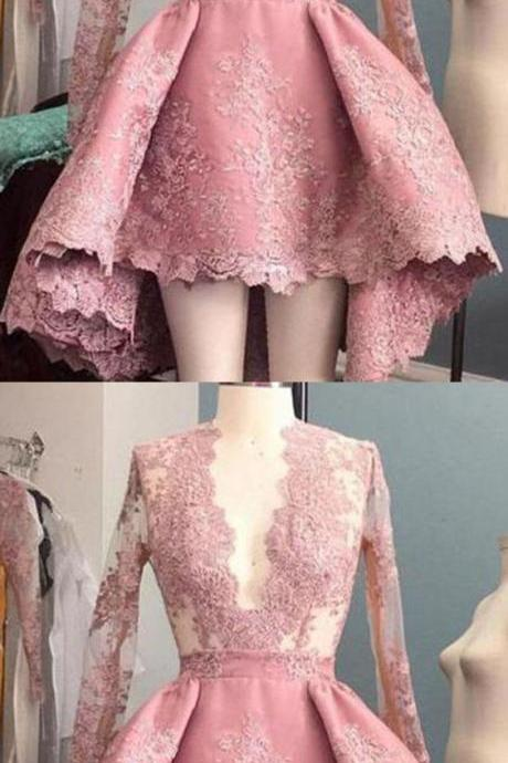 2018 Pink Long Sleeve Homecoming Dress V Neck Cheap Homecoming Dress