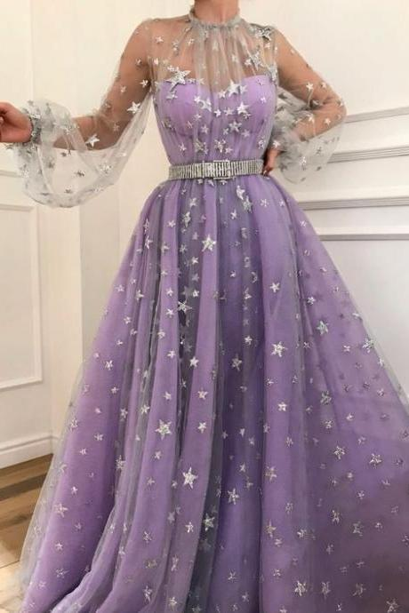 Beautiful Sweetheart Tulle Long Prom Dress with star