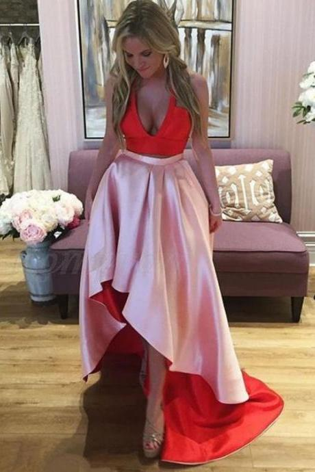 V Neck ,Red High Low Prom Dress , Long Prom Dress,Two Pieces Party Dress ,2018 New Fashion,Custom Made