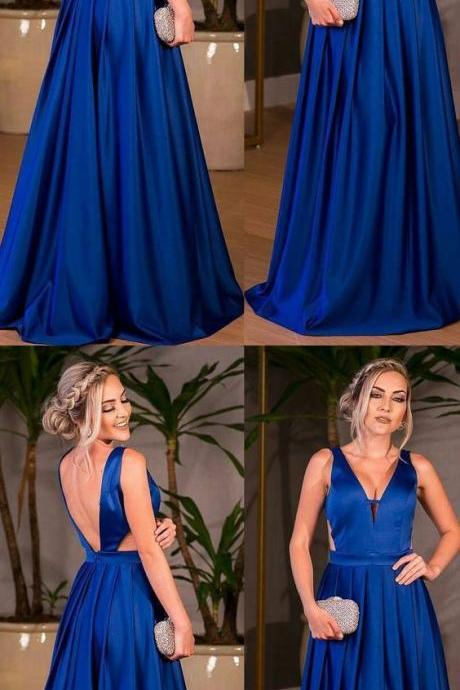 2018 Chic A Line Prom Dress Modest V Neck Cheap Simple Long Prom Dress ,Royal blue prom dress,Custom Made,Party Gown
