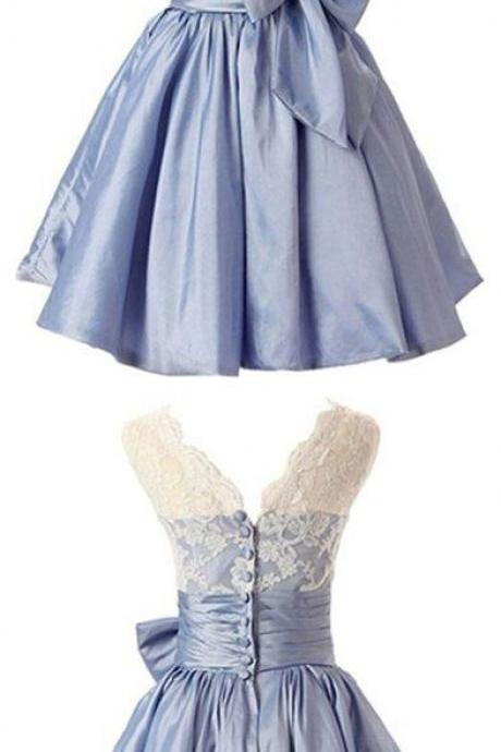 Elegant Scalloped-Edge Knee-Length Blue Homecoming Dress with White Lace Bowknot ,Prom Dress for Teens,Evening Gowns,Custom Made,Party Gown