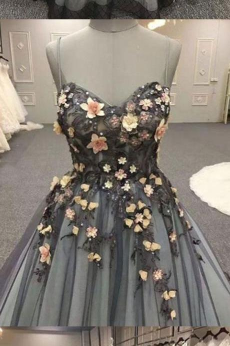 Chic Lace Tulle Prom Dress Cheap Long Prom Dress With Flowers ,Custom Made,Party Gown,Evening Dress